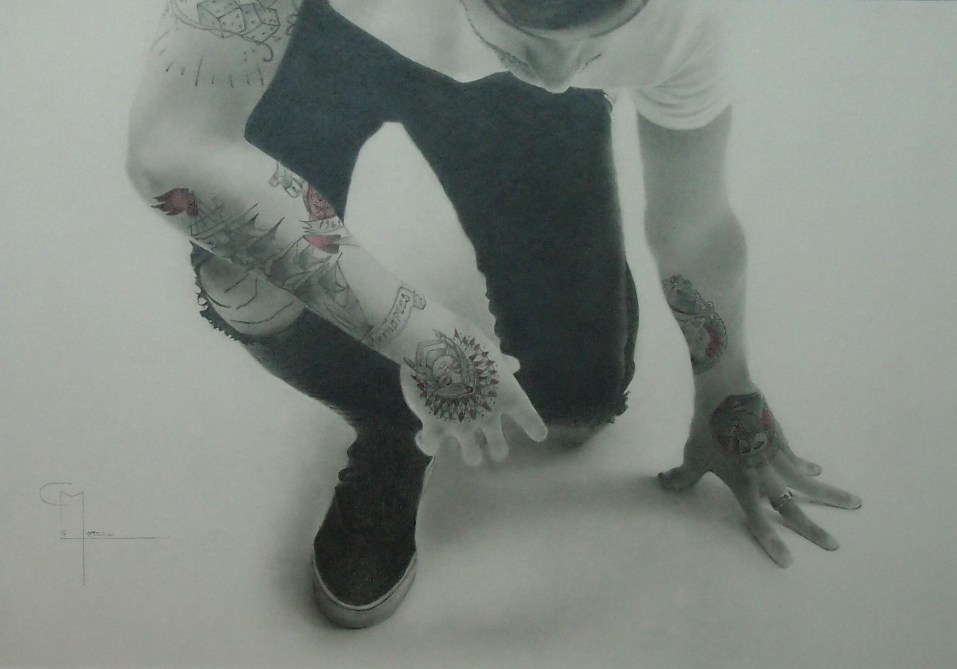 """""""Franchir une nouvelle étape"""", dessin aux crayons sur papier 220 g., au format 29,7 x 42 cm"""