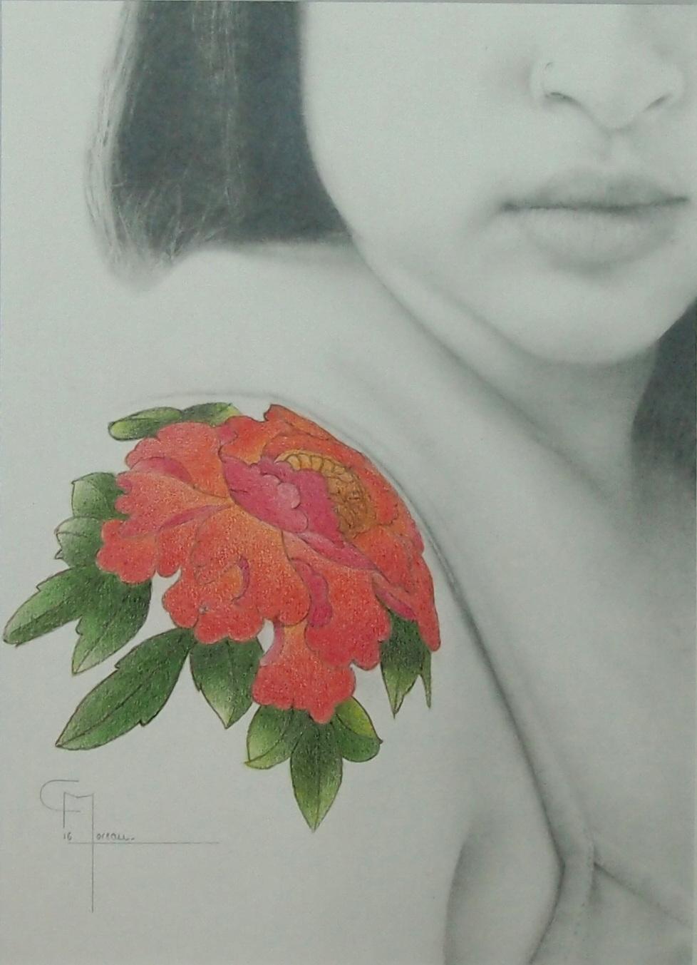 """""""Se souvenir I"""", dessin aux crayons sur papier 220 g., au format 21 x 29,7 cm"""
