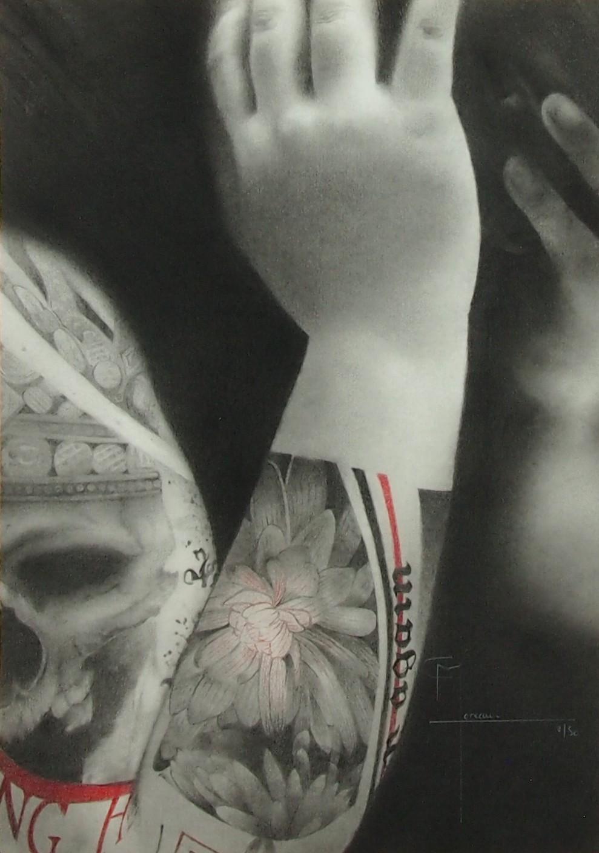 """""""Vers les autres"""", dessin aux crayons sur papier 220 g., au format 21 x 29,7 cm"""