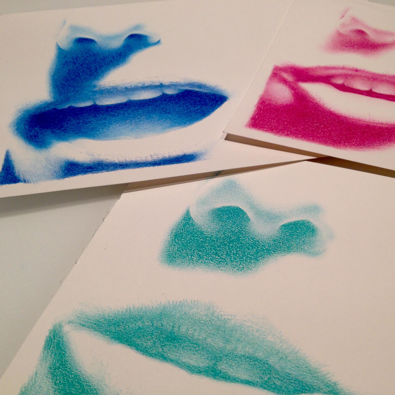 """""""Madness"""", Triptyque aux crayons de couleurs sur papier 220 g., au format 18 x 39 cm (x 3)"""
