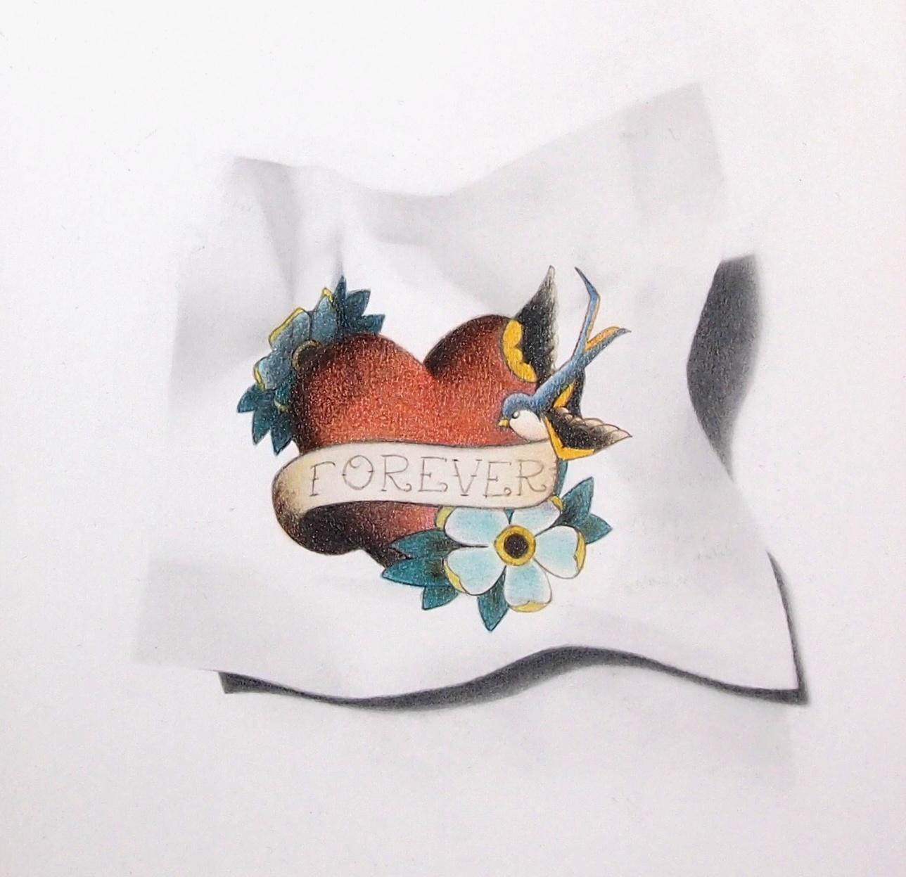 """""""Forever"""", dessin aux crayons sur papier 220 g., au format 21 x 21 cm"""