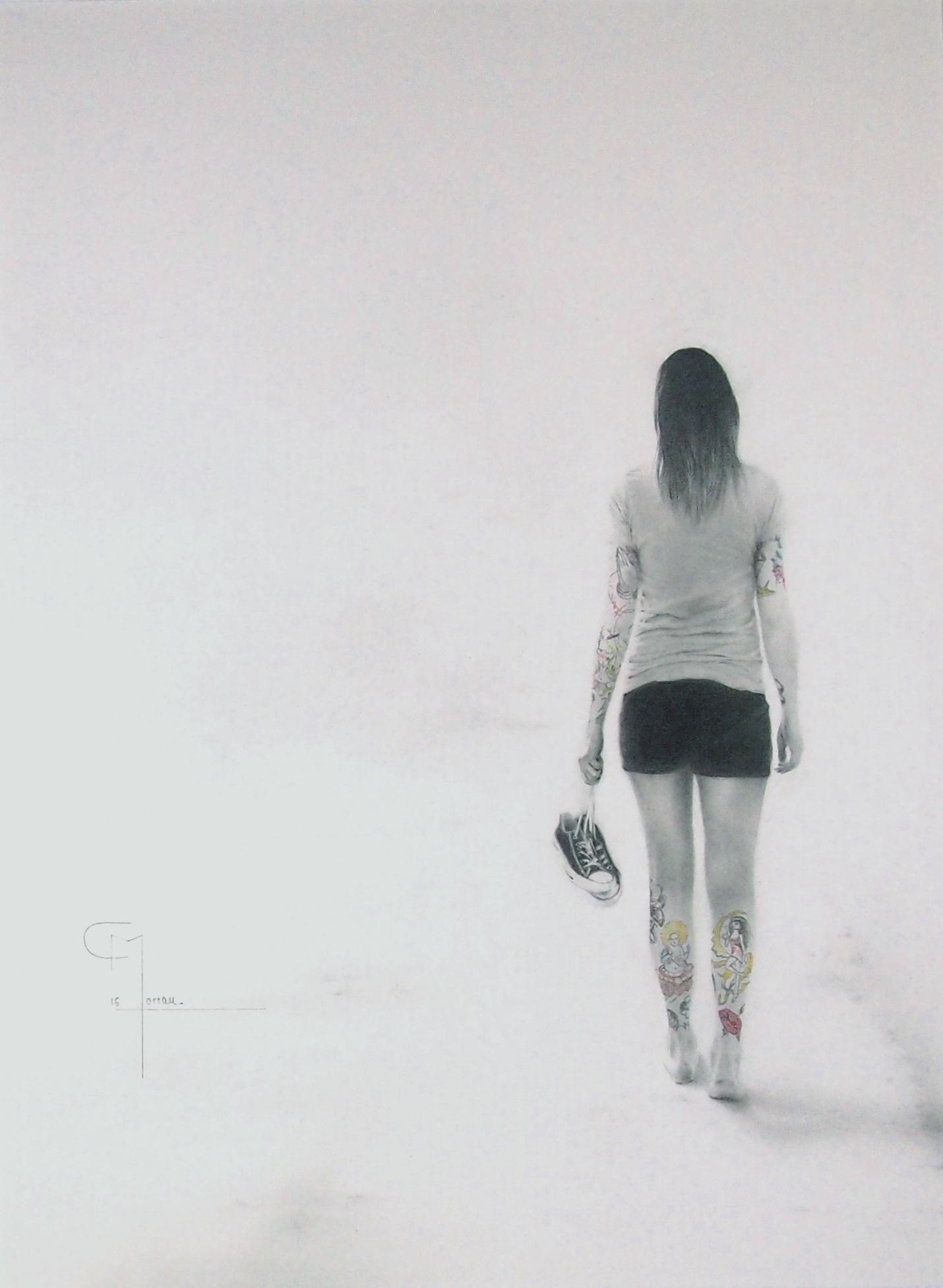 """""""Choisir sa voie"""", dessin aux crayons sur papier 220 g., au format 29,7 x 42 cm"""