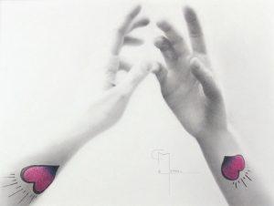 """""""Se connecter"""", dessin aux crayons sur papier 220 g., au format 29,7 x 42 cm"""