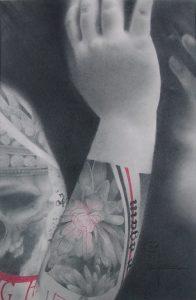 """""""Vers les autres"""" Dessin aux crayons sur papier 220 g., au format 21 x 29,7 cm"""