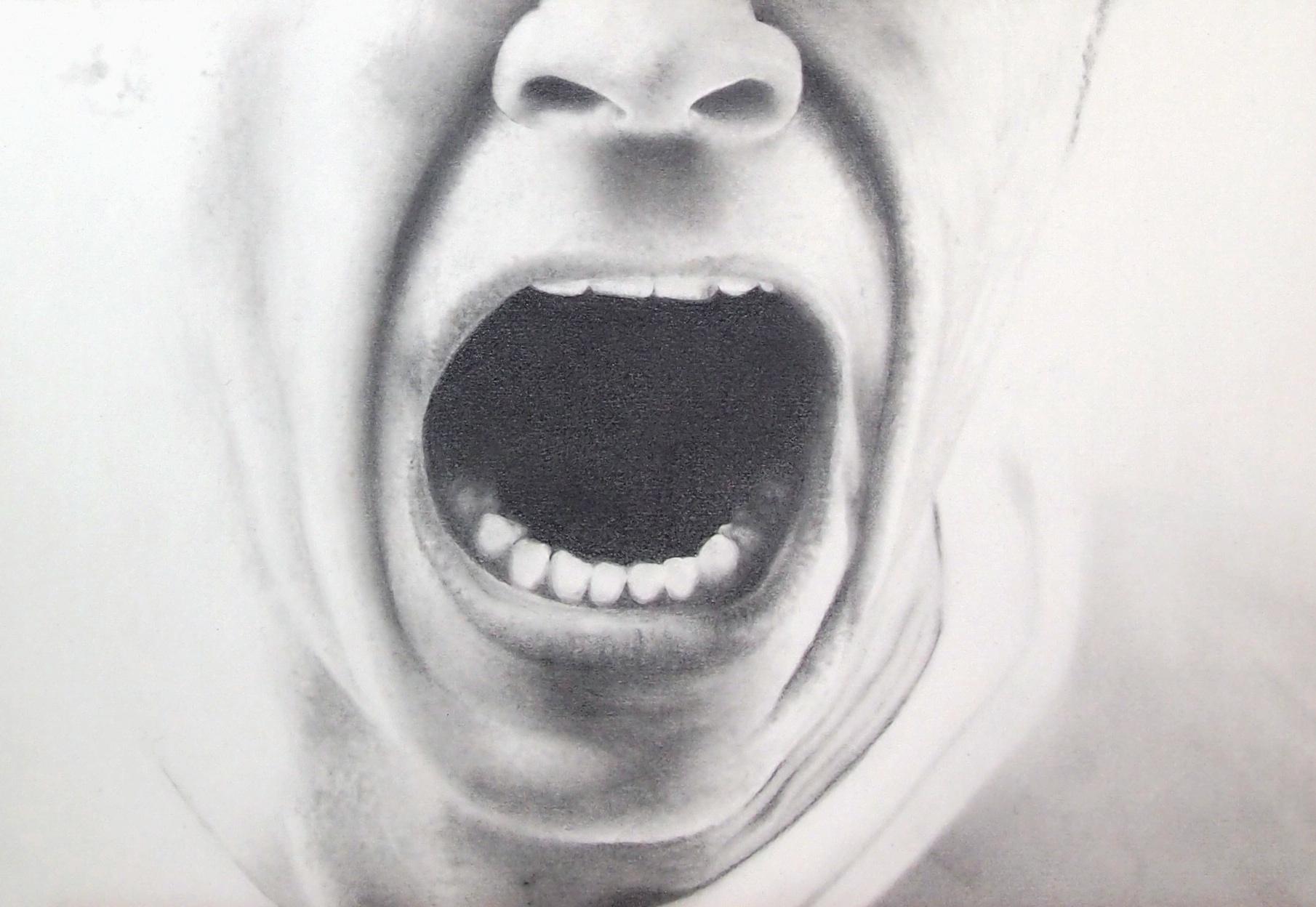 """""""Scream"""", dessin aux crayons sur papier 220 g., au format 21 x 29,7 cm"""