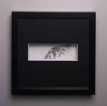 """""""La marque II"""", dessin aux crayons de papier sur papier d'art lisse 220g, au format 20x20 cm"""
