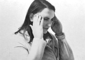 """""""Oublier"""", dessin aux crayons sur papier 220 g., au format 29,7 x 42 cm"""
