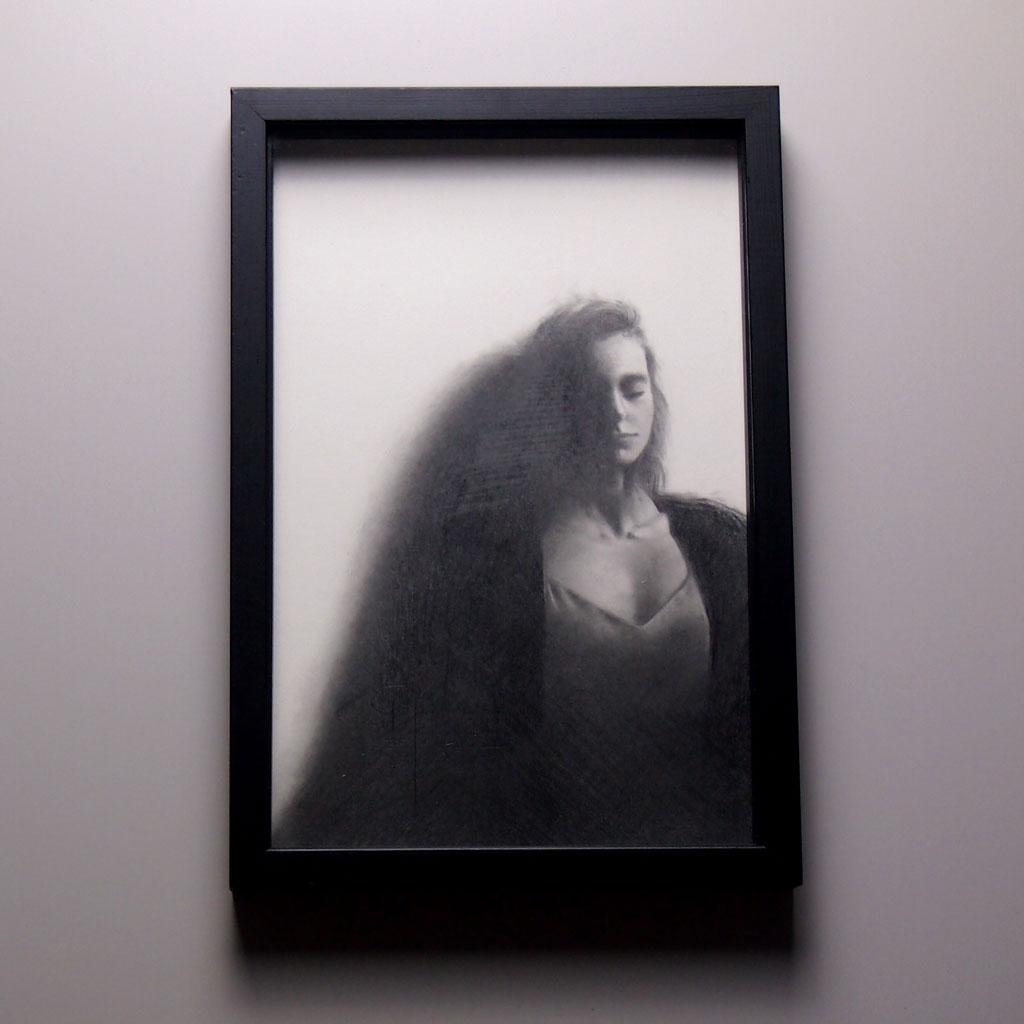 « Réflexion », dessin aux crayons de papier sur papier d'art lisse 220g, au format 20 x 30 cm