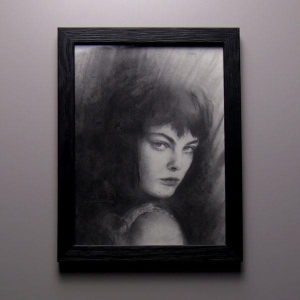 « Regard », dessin aux crayons de papier sur papier d'art lisse 220g, au format 18× 24 cm